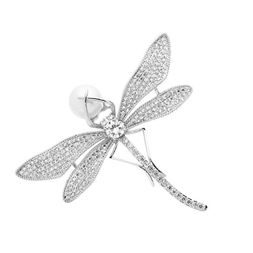SHANLIHUA Animal Dragonfly Brooch Pins for Womens Ladies Shell Pearl Safety Pin Accessories White for Clothes Hat Scarf ()