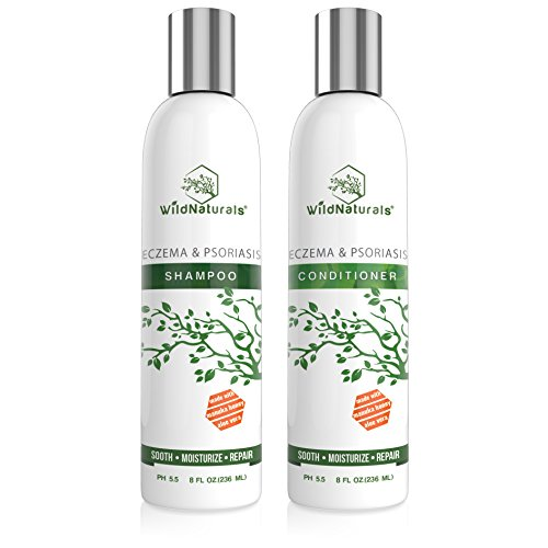 Wild Naturals Eczema Psoriasis Shampoo - Conditioner Set 8oz, 98% Natural, 80% Organic, Sulfate Free, Soothing Anti Dandruff, Flaky, Itchy, Dry Scalp Treatment for Seborrheic Dermatitis, Damaged Hair