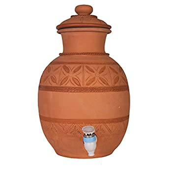 Image of Village Décor Handmade Earthen Clay Water Pot with Tap and Lid / 2 Gallon Beverage Dispenser/Carafes Pitcher Table Top Kitchen Storage Eco Friendly Containers Pots Drinkware Carafes & Pitchers