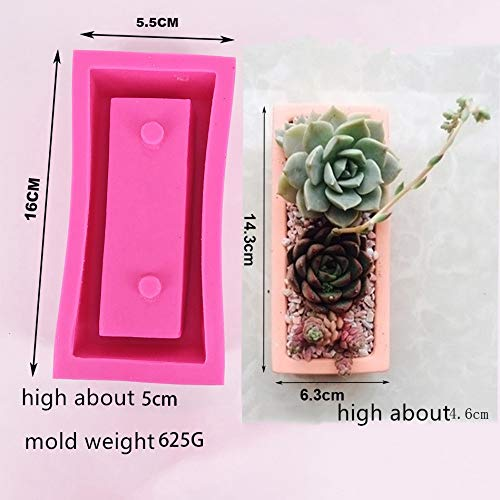 Concrete Planter Best Quality - Clay Molds - Big Rectangle Handmade Silicone Pot Mold for Concrete Planter Making DIY Craft Cement Flowerpot Mould - by GTIN - 1 PCs
