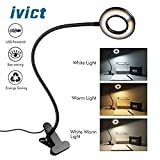 Clip on Light Reading Lights - iVict 24 LED USB Book Clamp Light with 3 Color Modes, 10 Brightness Dimmer and Auto Off Timer, Eye Protection Kids Desk Lamp, 360 ° Flexible Gooseneck Bed Night Light