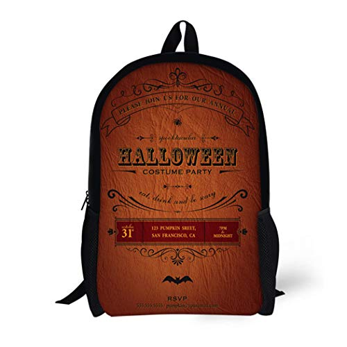 Pinbeam Backpack Travel Daypack Orange Vintage Halloween Party Label Classic October Announcement Waterproof School -