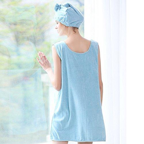 Suave Wuchance De Baño Pink Spa Mujeres Vestido Bath Gorra Skirt Microfibra Para Albornoz color r968 Blue Bx Con Cozy twFrt