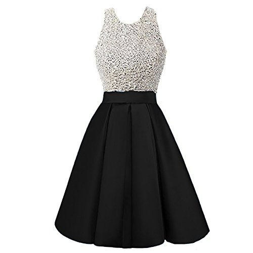 Beaded Short Dress Little Black Dress (Backless Beaded Short Halter A Line Prom Homecoming Bridesmaid Dresses Plus Size Little Black US 20W)
