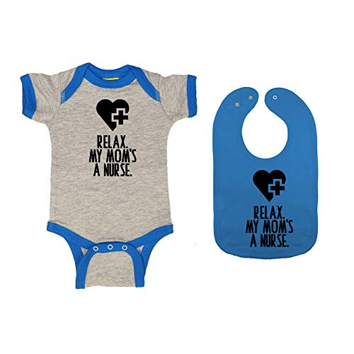 (Mashed Clothing - Relax. My Mom's A Nurse. - Baby Ringer Bodysuit & Premium Bib Gift Set (Heather/Cobalt Ringer, Cobaltalt Bib, 6)