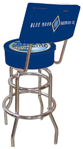 Blue Moon Padded Swivel Bar Stool with Back