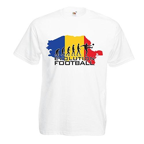 lepni.me N4514 T Shirts For Men Evolution Football - Romania (XX-Large White Multi - Euro Ireland Store