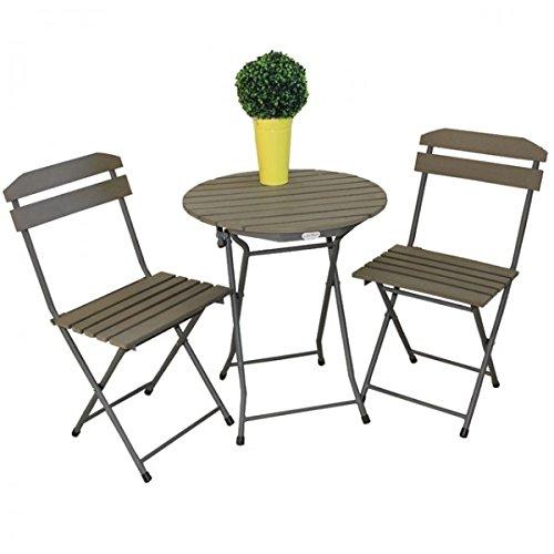 Balkonset Sitzgruppe LUGO Stahl Pulverbeschichtet Non Wood Grau Gartenmöbel Tisch  Stuhl Klappbar Günstig