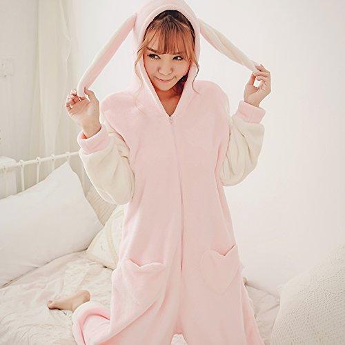 MH-RITA Caída Princesa pijamas, Siameses lindo traje de conejo de Dibujos Animados Animales niñas engrosamiento franela vestido Home,L,conejo rosa
