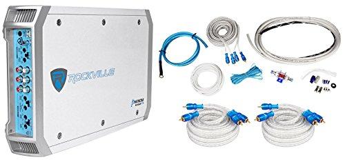 Rockville RXM-F3 1600 Watt Peak/800w RMS Marine/Boat 4 Channel Amplifier+Amp Kit (Watt 4 Ch Amp Amplifier)