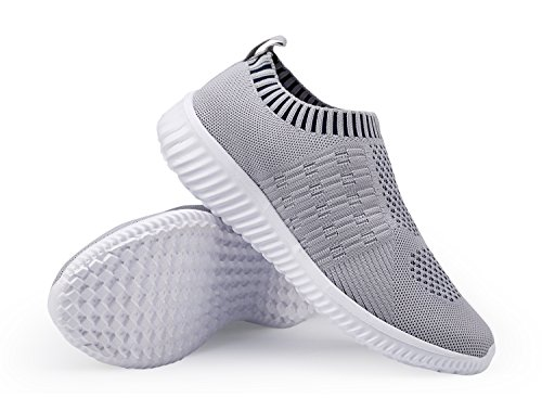 DMGYDAF Women's Lightweight Walking Athletic Shoes Breathable Mesh Sneakers Casual Running Shoes Gray 39 by DMGYDAF (Image #5)
