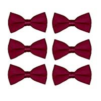Boys Wedding Bow Tie 6 Pack Children Chorus Pre-Tied Bowties Kids Tuxedo Solid Ties