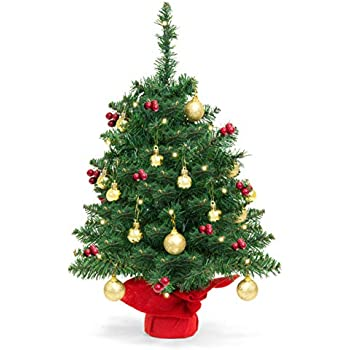 best choice products 22in pre lit battery operated tabletop mini artificial christmas tree decor w ul certifed led lights red berries gold ornaments