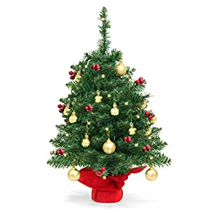 Best Choice Products 22in Pre-Lit Battery Operated Tabletop Mini Artificial Christmas Tree Decor w/ UL-Certifed LED Lights, Red Berries, Gold Ornaments - Green 10