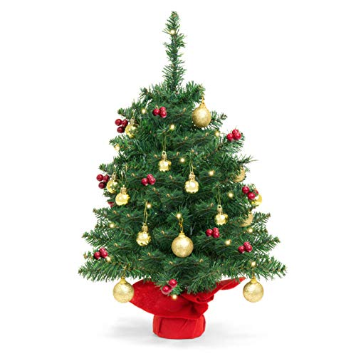 Best Choice Products 22in Pre-Lit Battery Operated Tabletop Mini Artificial Christmas Tree Decor w/ UL-Certifed LED Lights, Red Berries, Gold Ornaments - Green