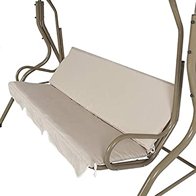 Patio Swing Cushion Cover Replacement for 3 Seaters 59x59x4-inch Patio Swing Seat Cover Swing Chair Cushion Cover Waterproof,Beige : Garden & Outdoor