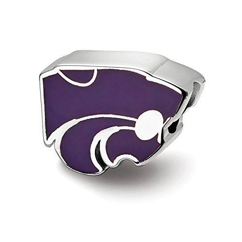 925 Sterling Silver Rhodium-plated Laser-cut Kansas State University Enameled Logo Bead Charm