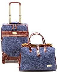 Samantha Brown Tweed 2-Piece 21 Spinner and Shoulder Bag Luggage Set - Blue