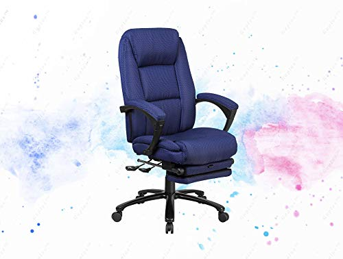 (GUPLUS-High Back Navy Fabric Executive Reclining Swivel Office Chair with Comfort Coil Seat Springs and Padded Arms Contemporary Office Chair High Back Design with Headrest Navy Fabric Upholstery)