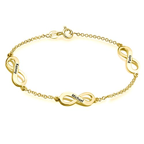 (Ouslier 925 Sterling Silver Triple Infinity Bracelet with Rollo Chain Custom Made with 3 Names (Golden))