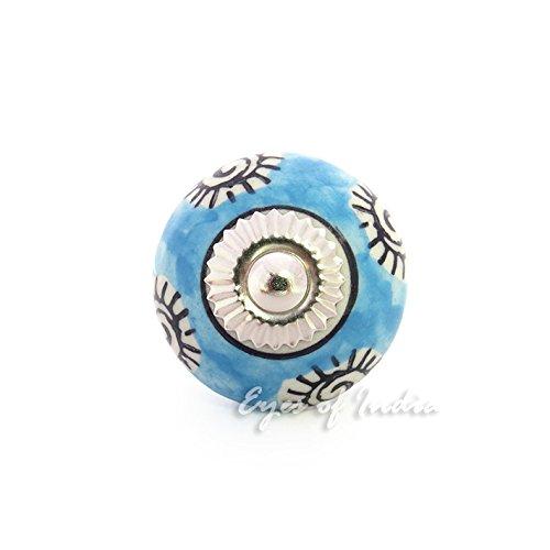 Eyes of India Blue Ceramic Cupboard Door Cabinet Dresser Knobs Pulls Decorative Shabby Chic Colorful Boho Bohemian