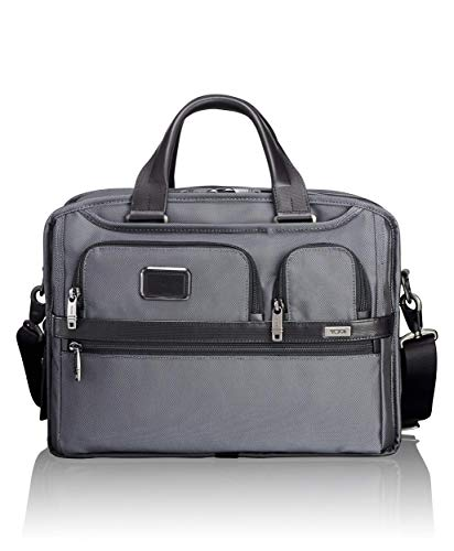 TUMI - Alpha 2 Expandable Organizer Laptop Brief Briefcase - 15 Inch Computer Bag for Men and Women - Pewter