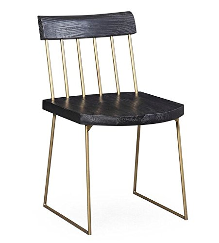 TOV Furniture The Madrid Collection Rustic Modern Style Pine Dining Chair with Brass Accents, -