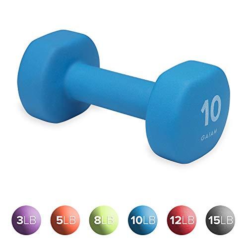 Gaiam Neoprene Dumbbell Hand Weight, Blue, 10 lb (Sold as Single Dumbbell)