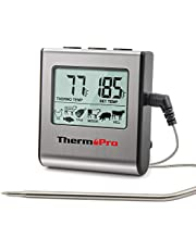 ThermoPro TP-16 Digital Cooking Food Meat Thermometer for Smoker Oven Kitchen Candy BBQ Grill Thermometer Clock Timer with Stainless Steel Temperature Probe, Large LCD Display, Standard, Silver