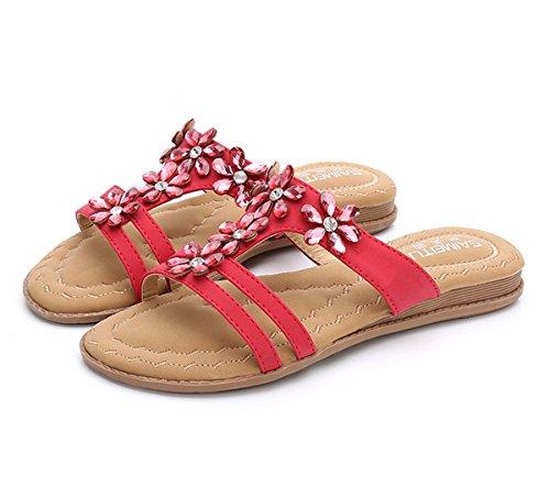 Women's Damen Shoes coole Hausschuhe Präsident Sandalen Red Strand böhmische Damen Terrasse und Walking Shoes coole Comfort Sandals Hausschuhe Sandalen Sandalette Lounge FBfqrFAn