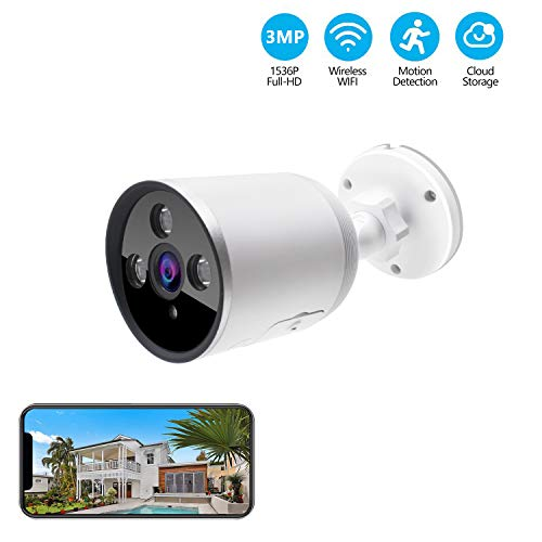 Outdoor WiFi Security Camera, 3MP 1536P Night Vision Security Camera with Two-Way Audio,Cloud Storage, IP66 Waterproof, Motion Detection, Activity Alert, Deterrent Alarm (Only 2.4G WiFi)