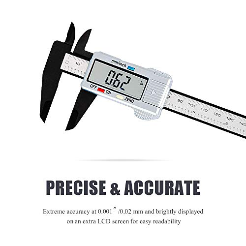Digital Vernier Caliper Stainless Steel Electronic Caliper 6 inch/150 mm Accurate Measuring Tools with Extra-Large LCD Screen-inch/Metric Conversion