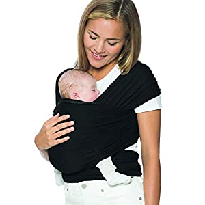 Ergobaby Aura Baby Carrier Wrap for Newborn to Toddler (7-25 Pounds), Pure Black (WLABLACK)