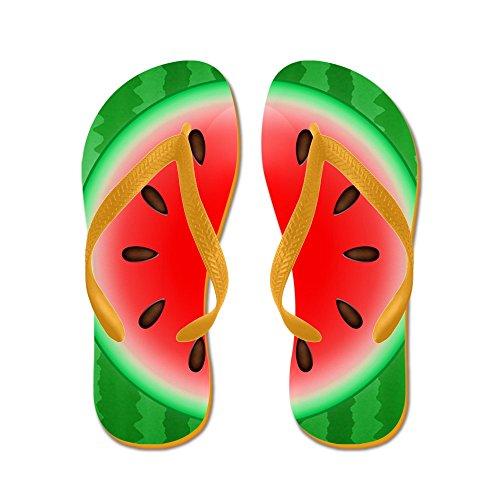 Cafepress Watermelon Slice - Chanclas, Sandalias Thong Divertidas, Sandalias De Playa Naranja