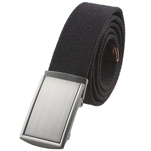 Moonsix Canvas Web Belts for Men,Solid Color Military Style Belt Buckle ,Black (1.5