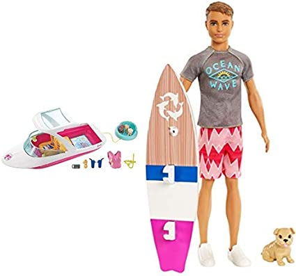 Barbie Boat Playset Dolphin Ocean View 3 Puppies Snorkel Vest Camera Sunscreen