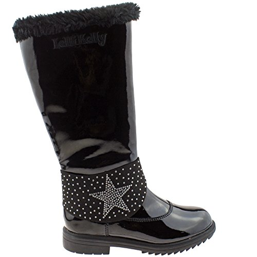 High Lelli Boots Lk7642 9 Kelly Fur Vernice 27 uk Black db01 Betty Alto Lined xgAvXwqgr