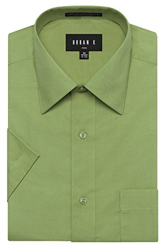URBAN K Men's Classic Fit Solid Formal Collar Short Sleeve Dress Shirts Regular & Plus Size, Ubk-apple Green, L/16-16.5 N Classic Apple Green