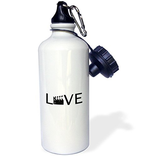 Love With Movie Clapper For O Filming Buff Film Making Black Sports Water Bottle Stainless Steel Water Bottle for Women Men Kids 400 ml Zhaoshoping