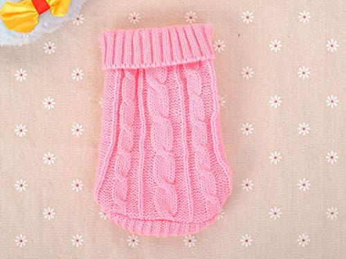 FidgetGear XXXS/XXS/XS Knitted Dog Sweater Cat Puppy Clothes Jumper for Chihuahua Teacup Pink XXXS