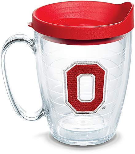 - Tervis 1303928 Ohio State Buckeyes Block O Insulated Tumbler with Emblem and Red Lid, 16oz Mug, Clear