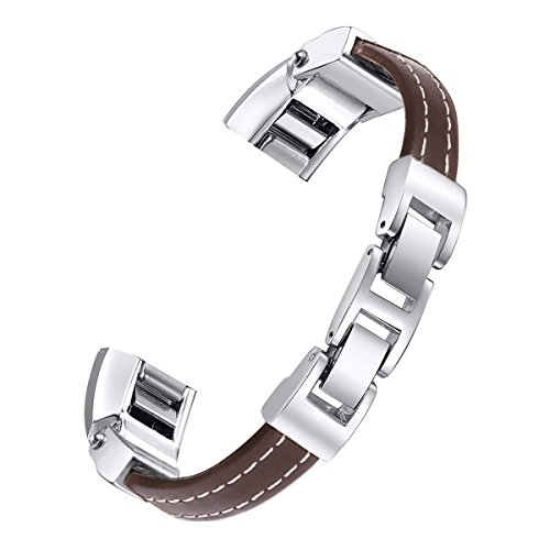 For Fitbit Alta Bands, bayite Leather Bands Adjustable Metal Buckle Chocolate Brown Large 6.7