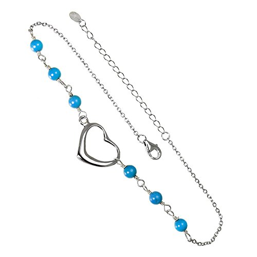 r Synthetic Blue Turquoise Bead Anklet 9.5in ()