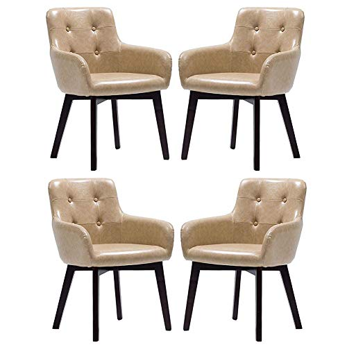 LIUNA Chairs Accent Arm Chair Leatherette with Solid Wood Legs Dining Room Club Guest Office, Home Multifunction (Color : Khaki, Size : Black Frame) Director Leatherette Office Chair