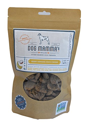 Dog Mamma's Organic Dog Treats - Berry Banana Coco Chunk - 8 oz Blueberry Banana & Coconut ALL NATURAL Treats NO CHEMICALS or PRESERVATIVES NO GMO's Made in USA 100% Organic Ingredients - Fruit Vegetable Treat