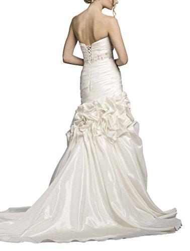 Taille Traegerlos Blume Brautkleider Weiß Pick Rueschenband BRIDE Perlen Rock GEORGE Applikationen Hochzeitskleider Up mit 6n5q7xv