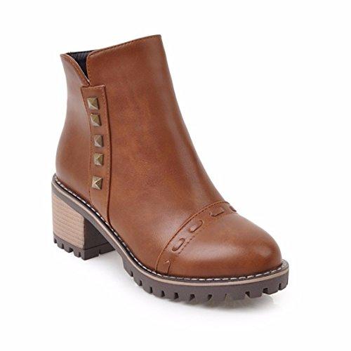 En invierno y en invierno, botas cortas, cabeza redonda, cremallera lateral, gran talón, señoras grandes botas Martin brown