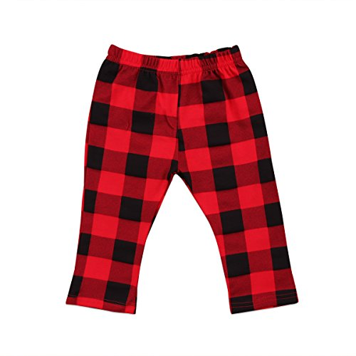 Toddler Baby Pants Infant Boy Girl Casual Cotton Plaids Check Long Pants Trousers Red&Black (18-24 Months)