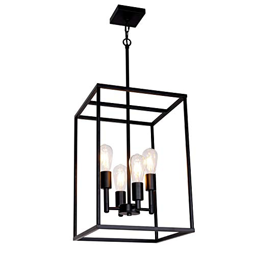 (VINLUZ 4 Light Large Industrial Metal Farmhouse Pendant Light Black Square Wide Cage Chandelier with Painted Finish for Dining Room Foyer Living Room Cafe)