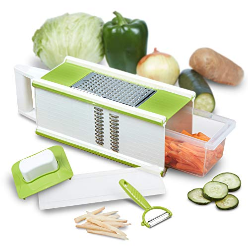CHEFHQ 5-in-1 Box Grater and Vegetable Peeler - Handheld Large Fine Julienne Food Shredder, Cheese Grater, Slicer and Storage Container - 4 sided Kitchen Hand Graters - Dishwasher Safe Stainless Steel